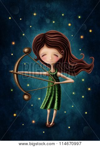 Illustration with a sagittarius astrological sign girl