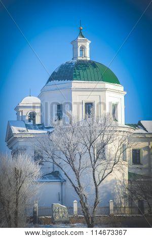 Catholic church on the back of winter