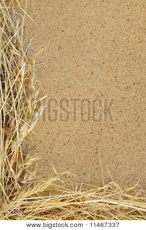 Detail of dry grass hay and OSB oriented strand board