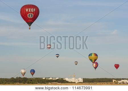 Minsk-Belarus, July 19, 2015: Lots Of Air-balloons Participating In International Aerostatics Cup Ca