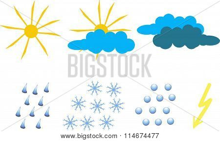Clipart for weather icons. Yellow sun and lightning, blue and dark blue clouds, raindrops, snowflake