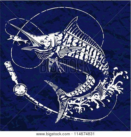 Marline Fish Blue Retro Paper 2