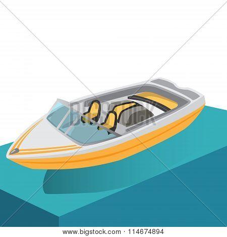 Motor Boat Flat Ocean Color