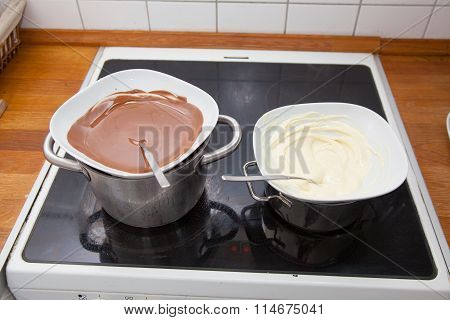 Black And White Chocolate Couverture In Water Bath