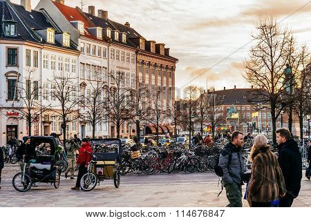 Copenhagen, Denmark - January 3, 2015: Stroget Is A Pedestrian, Car Free Area In Copenhagen, Denmark
