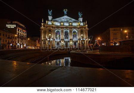 Lviv, Ukraine - October 18, 2015: Night View Of The Lviv Theatre Of Opera And Ballet