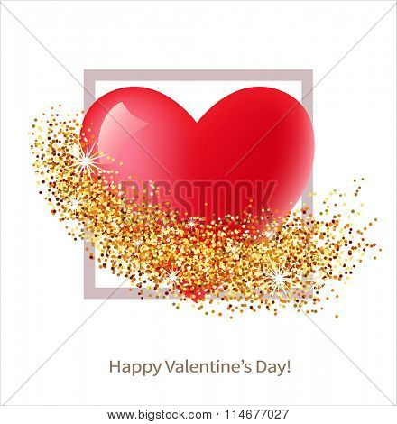 Valentine day card with heart and golden glitter. Vector illustration.