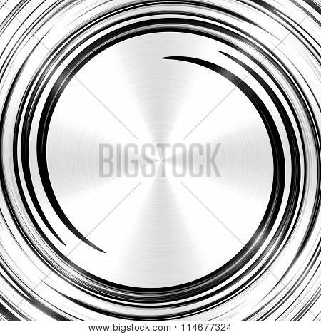 Abstract Black Silver Spiral Stainless Steel Background