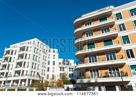 Two modern apartment buildings