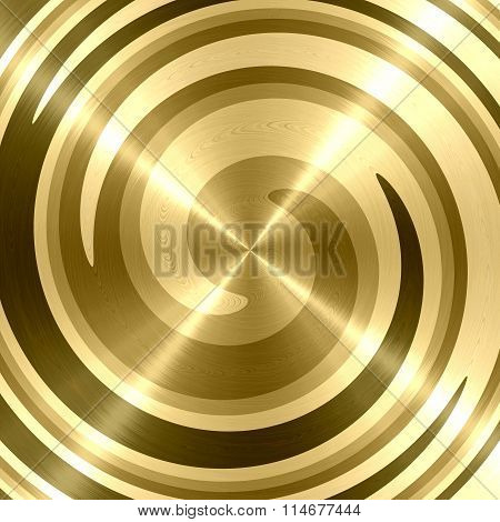 Abstract Gold Spiral Stainless Steel Background