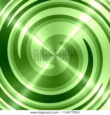 Abstract Green Spiral Stainless Steel Background