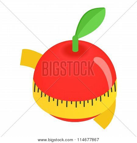 Red apple centimeter isometric 3d icon