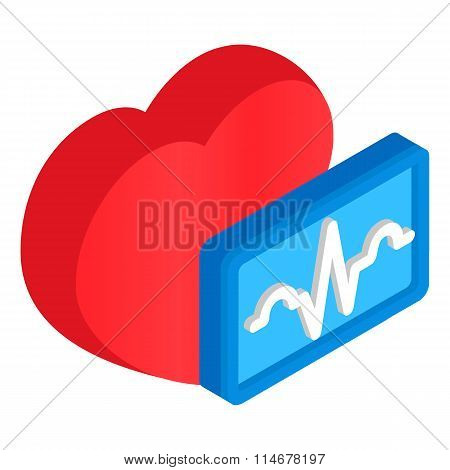 Cardiology heart 3d isometric icon