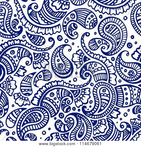 Line Orient Indian Paisley Seamless Pattern