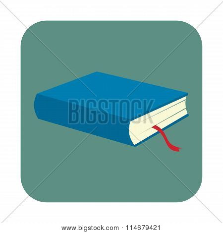 Blue book with bookmark flat icon