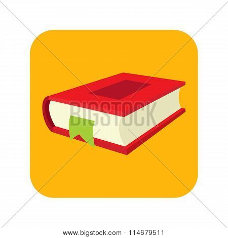 Red book with bookmark flat icon