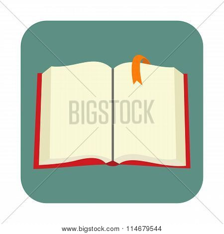 Opened blank book with bookmark flat icon