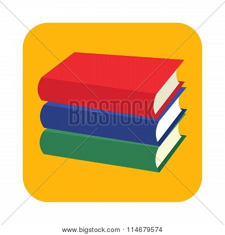 Horizontal stack of three colored books flat icon