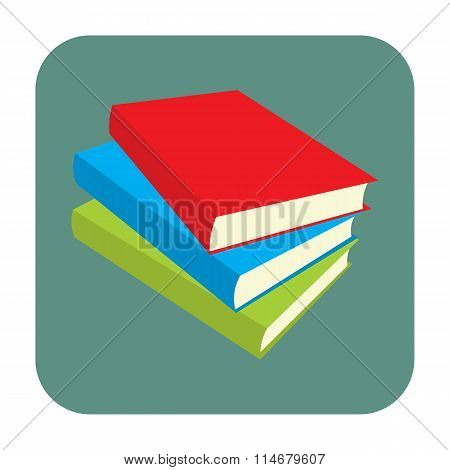 Horizontal stack of colored books flat icon