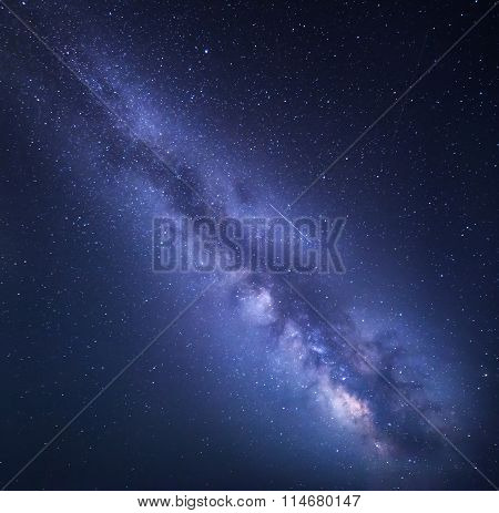 Night Starry Sky With Milky Way. Nature Background