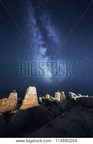 Night Landscape With Milky Way At The Sea With Breakwaters