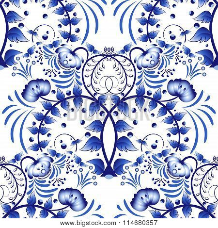 Seamless Pattern Based On Porcelain Painting Gzhel Style. Ornament In The National Style. Blue Flowe