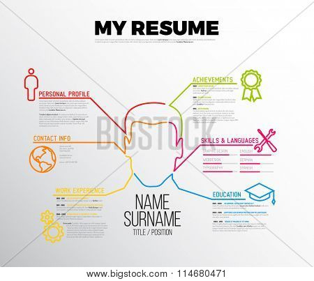Vector original minimalist cv / resume template - creative version with big avatar