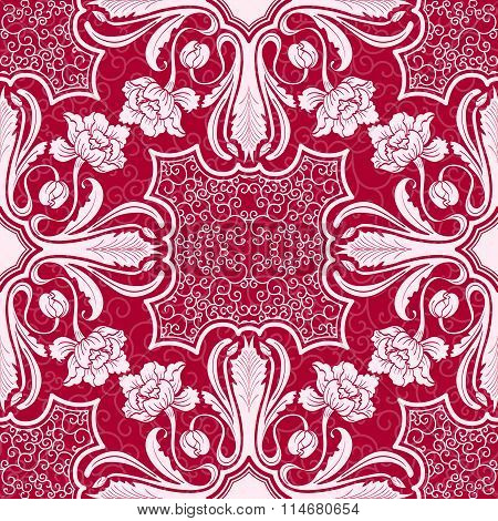 Seamless Pattern. Beautiful Silhouettes Interwoven Flowers And Leaves. Background With Motifs Of Ori