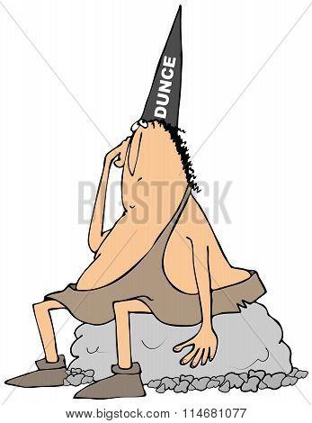 Caveman wearing a dunce hat