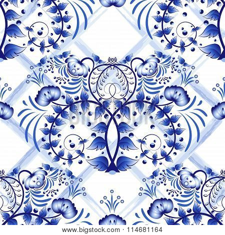 Seamless Blue Floral Pattern With Lattice Strips Of Watercolor. Imitation Of Painting On Porcelain I