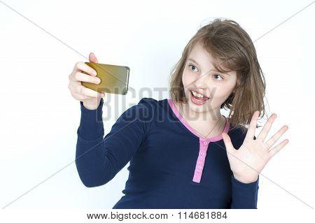Little Girl Making A Self Mobile Phone..