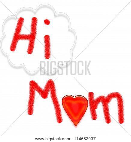 HI MOM card - child's artwork on white background
