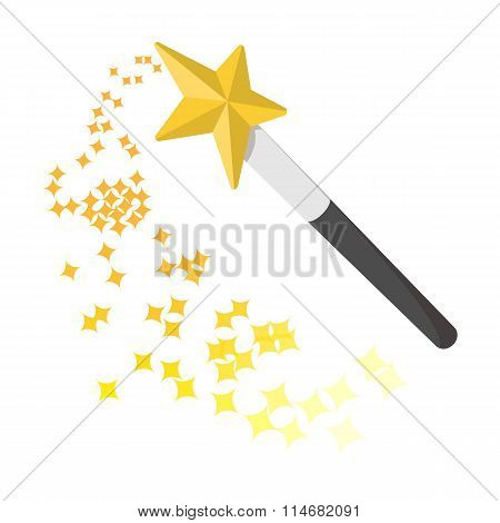 Magic wand cartoon icon
