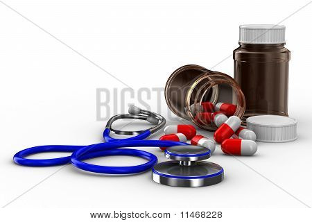 Stethoscope And Pills On White Background. Isolated 3D Image