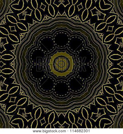 Seamless ornament gold black