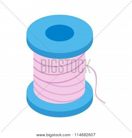 Coil with a thread 3d isometric icon