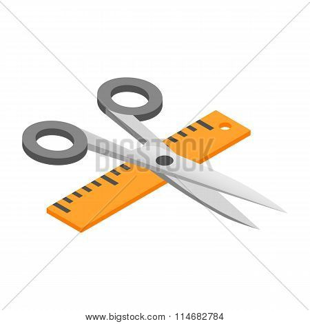 Scissors with ruler 3d isometric icon