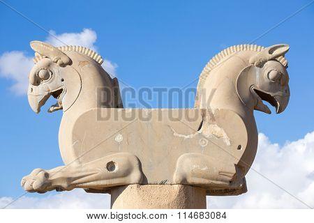 Persepolis, Iran - December 26, 2015: Achaemenid Griffin, or Homa, in Persepolis, Iran