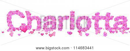 Charlotta Female Name Set With Hearts Type Design