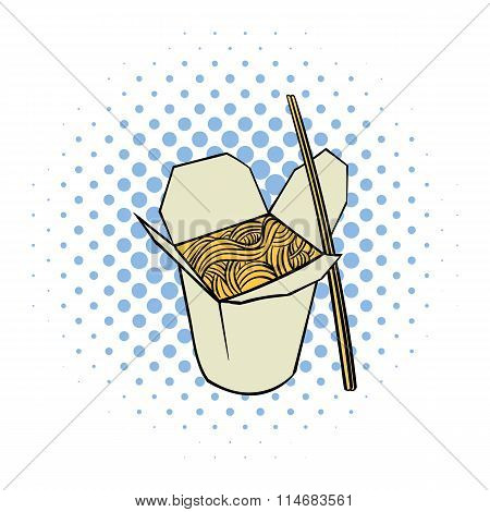 Chinese noodle in box comics icon