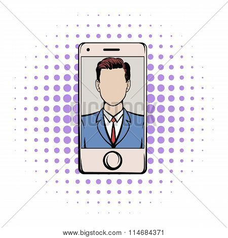 Smart phone with a skype video comics icon