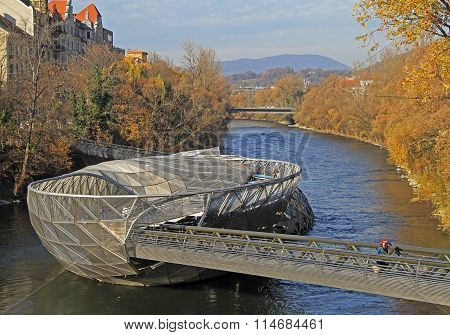 artificial floating platform in the middle of Mur river