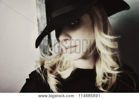 Girl Dressed In Black Broad Hat