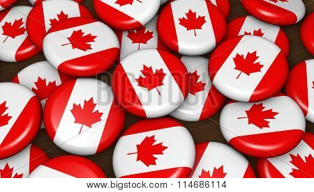 Canada Flag Badges Background