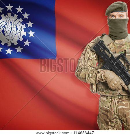 Soldier Holding Machine Gun With Flag On Background Series - Burma