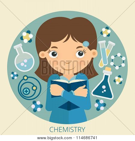 Smiling schoolgirl with textbook in her hands. Chemistry