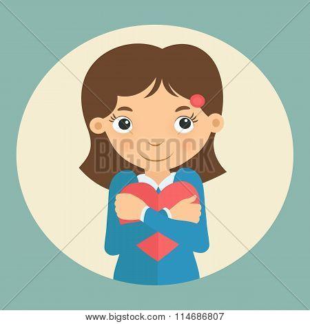 Pretty girl embracing valentine heart shaped card