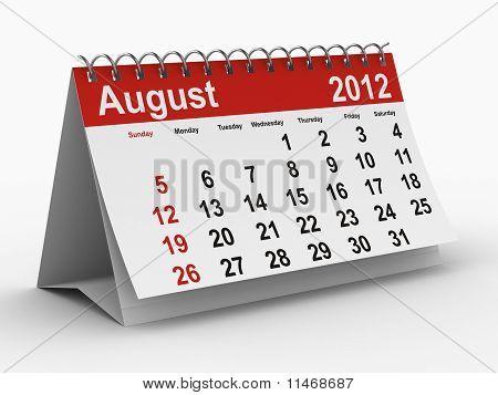 2012 Year Calendar. August.