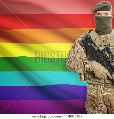 Soldier Holding Machine Gun With Flag On Background Series - Lgbt People