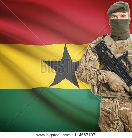 Soldier Holding Machine Gun With Flag On Background Series - Ghana